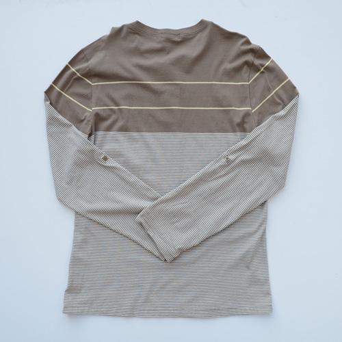 BANANA REPUBLIC/バナナ リパブリック ボーダー柄ヘンリーネックロングTシャツ-2