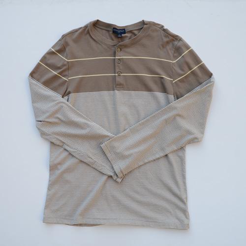 BANANA REPUBLIC/バナナ リパブリック ボーダー柄ヘンリーネックロングTシャツ