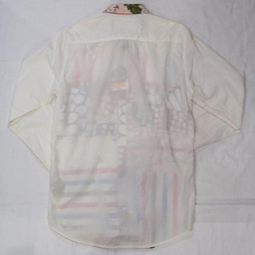 部分パッチワークロングスリーブボタンシャツ - 1