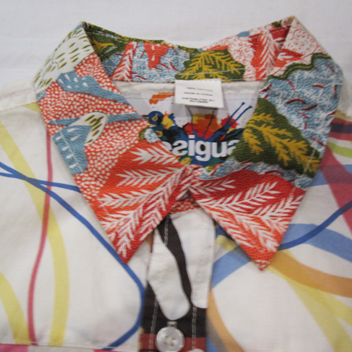 部分パッチワークロングスリーブボタンシャツ - 2
