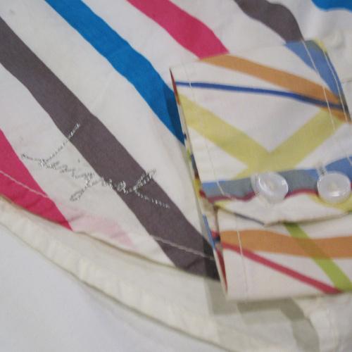 部分パッチワークロングスリーブボタンシャツ - 4
