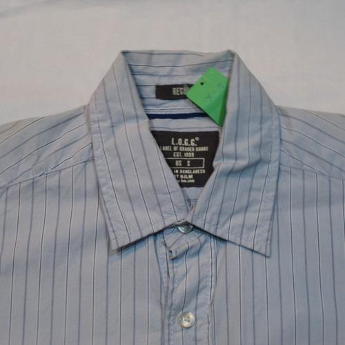ストライプ柄ロングスリーブボタンシャツ - 2