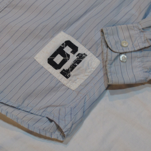 ストライプ柄ロングスリーブボタンシャツ - 4