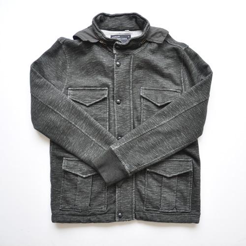 J.CREW/ジェイクルー 襟元フード付きジップアップ厚手ミリタリーパーカ