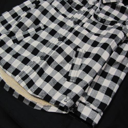 裏地ボアチェックフーディージャケット ホワイト×ブラック - 4