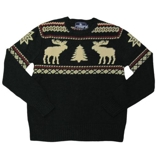 ノルディック柄丸首ニットセーター