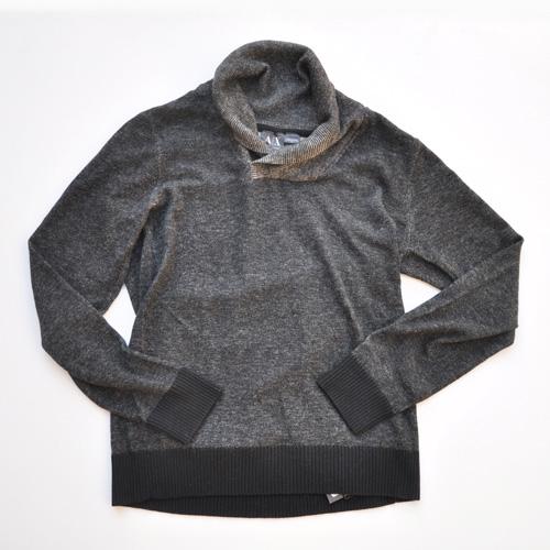 ショールカラー薄手ニットセーター