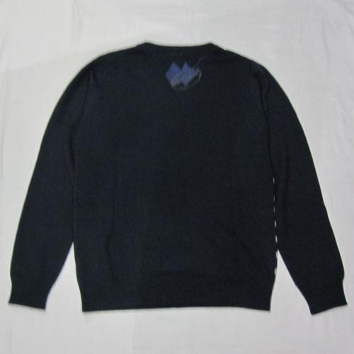 マルチボーダー薄手Vネックニットセーター - 1