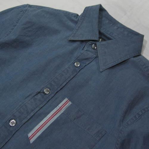 シャンブレーロングスリーブボタンシャツ - 2