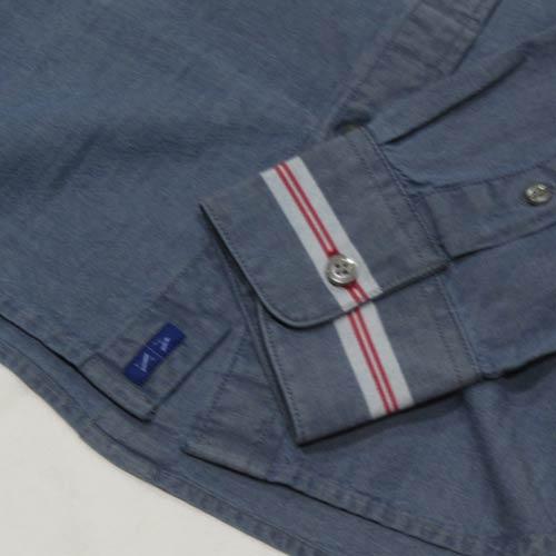 シャンブレーロングスリーブボタンシャツ - 3