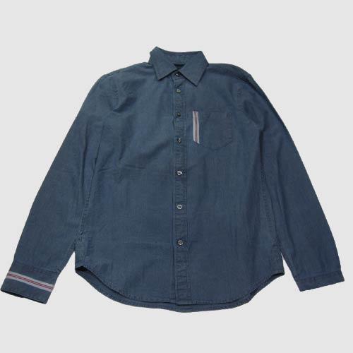 シャンブレーロングスリーブボタンシャツ