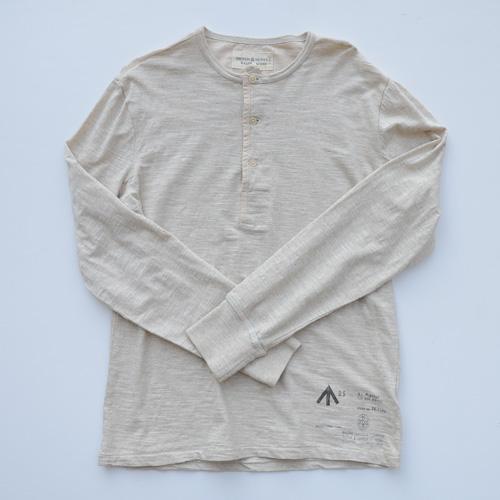 霜降りヘンリーネックロングスリーブTシャツ - 1