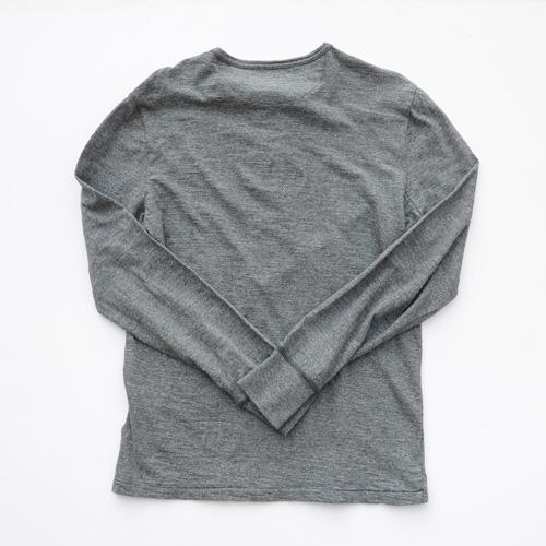 霜降りヘンリーネックロングスリーブTシャツ - 2
