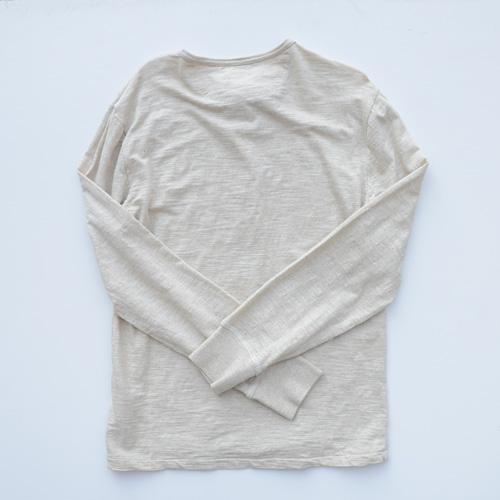 霜降りヘンリーネックロングスリーブTシャツ - 3