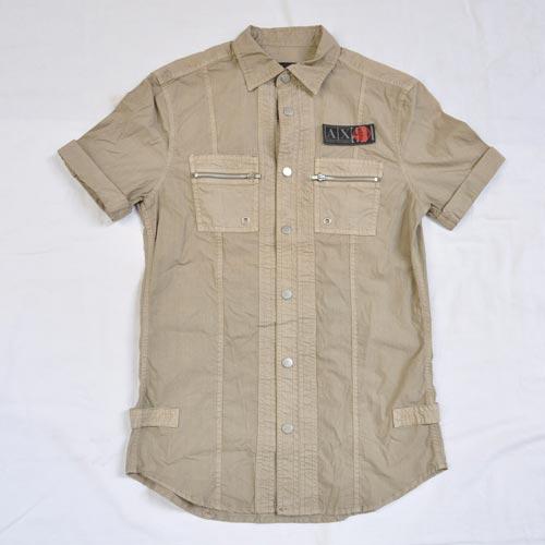 ミリタリー半袖ボタンシャツ