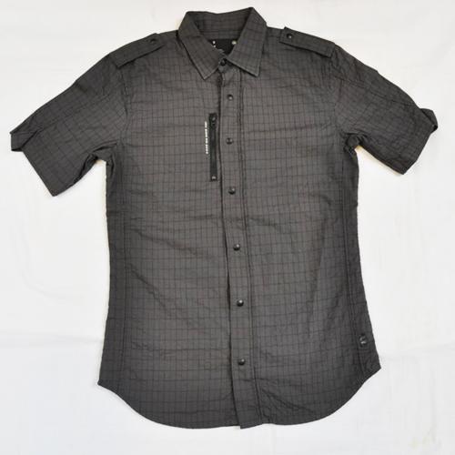 ミリタリーチェック半袖シャツ