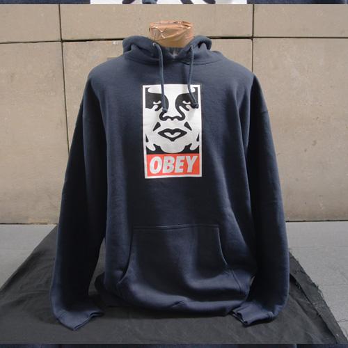 OBEY(オベイ)フロントプリントフードパーカ - 1