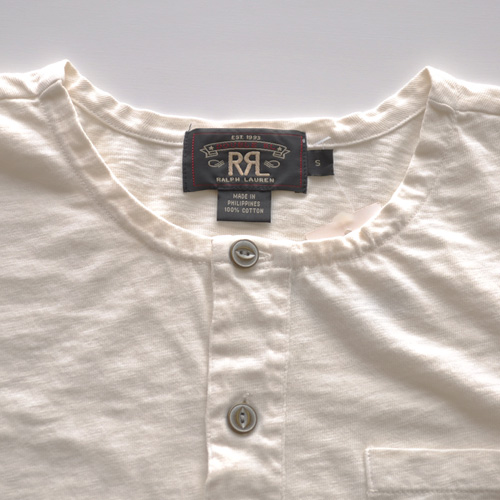 RRL (ダブルアールエル)ヘンリーネックTシャツ オフホワイト-3