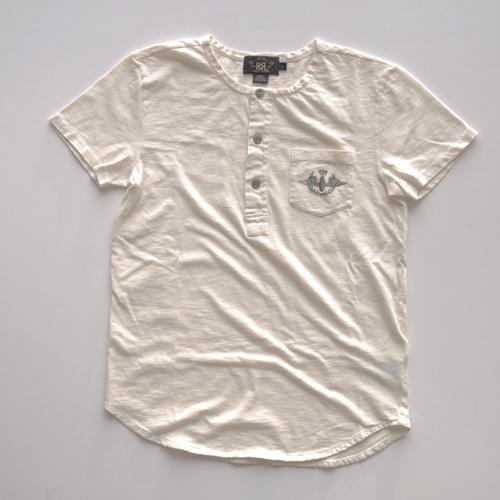 RRL (ダブルアールエル)ヘンリーネックTシャツ オフホワイト