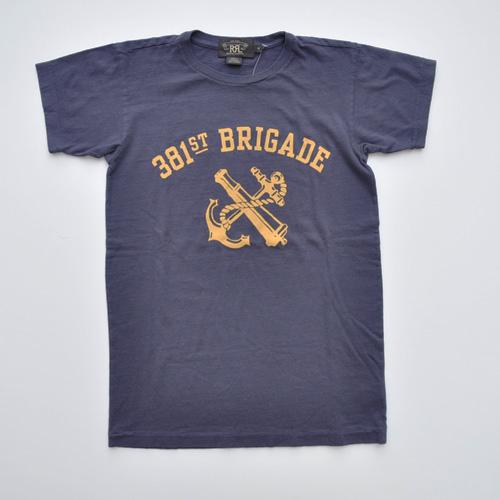 RRL (ダブルアールエル) フロントプリント半袖Tシャツ ネイビー