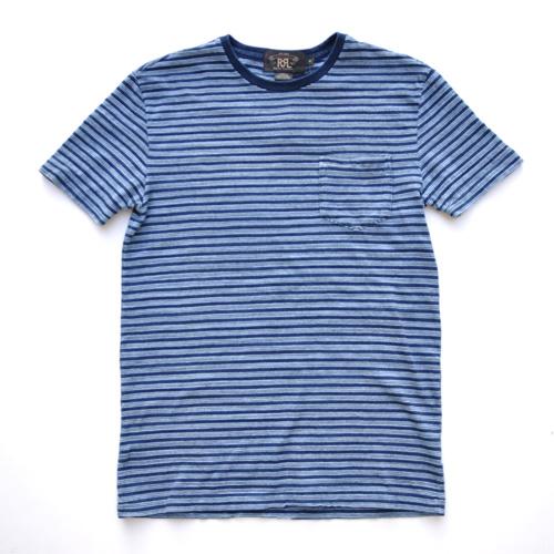 RRL/ダブルアールエル  インディゴ ポケットボーダーTシャツ