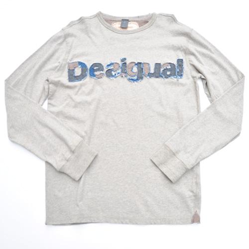 DESIGUAL/デシグアル フロントフェルト加工プリントロングスリーブTシャツ