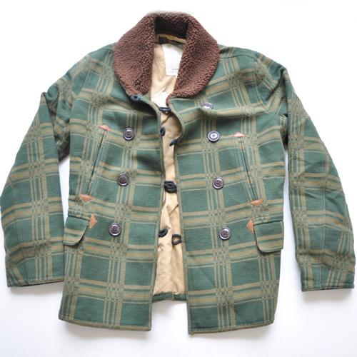 DENIM&SUPPLY/デニム&サプライ  襟ボアブロックチェック厚手コート