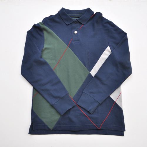 OLD NAVY/オールドネイビー フロントパッチワークロングスリーブポロシャツ