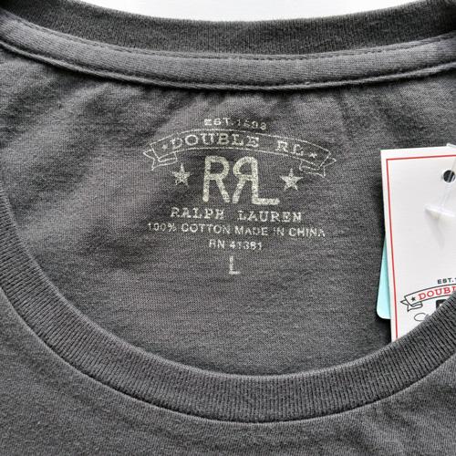 RRL/ダブルアールエル 半袖フロントロゴTシャツ チャコールグレー BIG SIZE-3