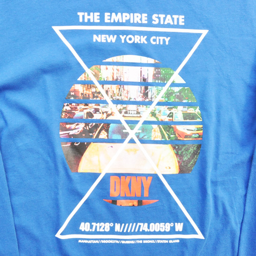 DKNY / ダナキャラン NEW YORK STATE 5Borough グラフィック L/S Tシャツ BIG SIZE ブルー - 3