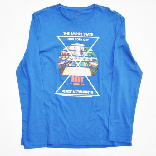 DKNY / ダナキャラン NEW YORK STATE 5Borough グラフィック L/S Tシャツ BIG SIZE ブルー