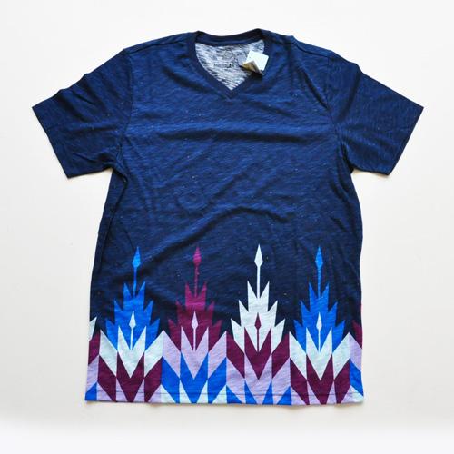 AMERICAN RAG CIE / アメリカンラグシー VネックボーダーグラフィックTシャツ