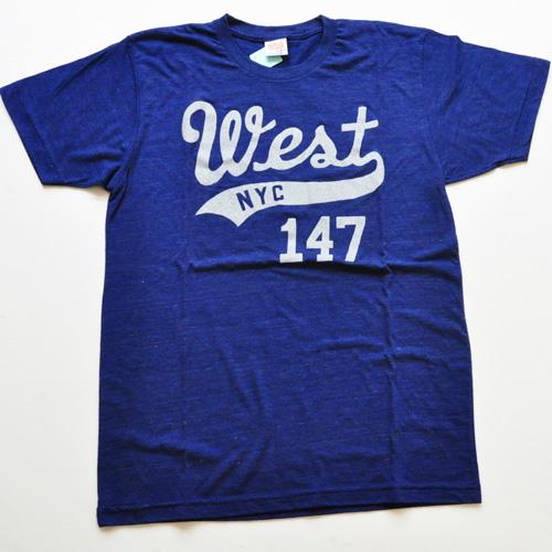 WEST NYC フロントプリントロゴ半袖Tシャツ ネイビー