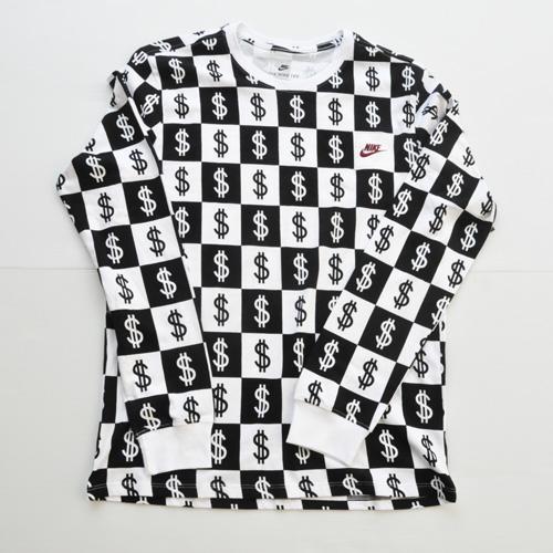 NIKE/ナイキ $総柄モノグラムロングスリーブTシャツ BIG SIZE US企画