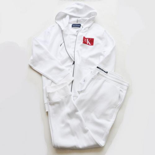 Calvin Klein /CK/ カルバンクライン ジーンズ BOXロゴ裏起毛スウェットセットアップ ホワイト BIG SIZE
