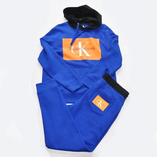 Calvin Klein /CK/ カルバンクライン ジーンズ BOXロゴ裏起毛スウェットセットアップ ブルー