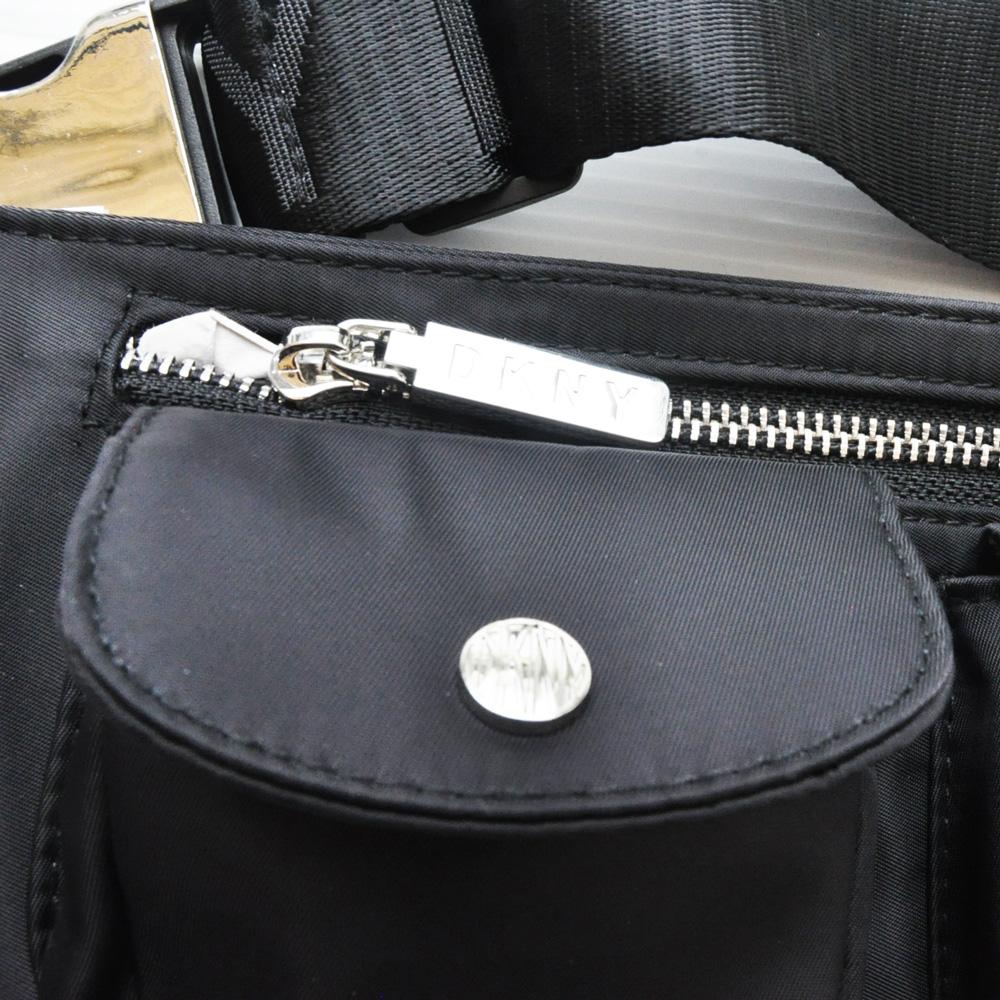 DKNY/ダナキャラン 4ポケットナイロンショルダーバック ブラック-3