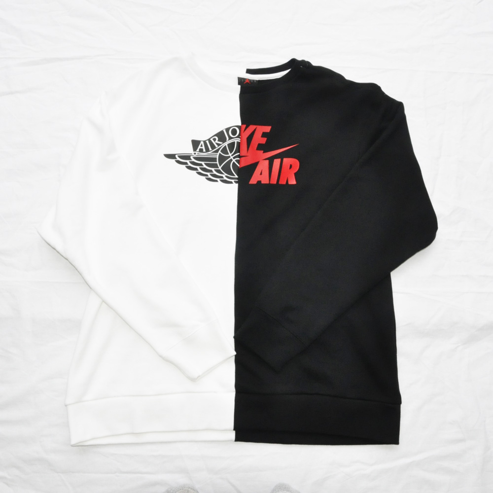NIKE/ナイキ AIR JORDAN NIKE AIR スプリットロゴクルーネックスウェット ホワイト×ブラック BIG SIZE