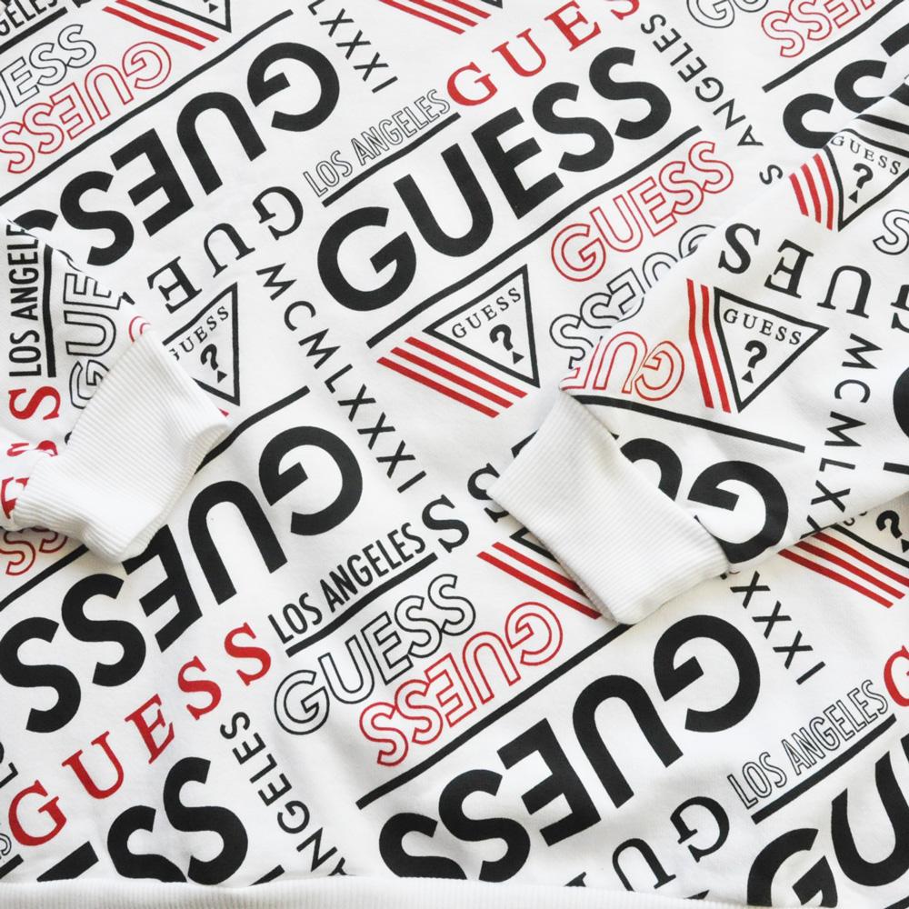 GUESS/ゲス 総柄プリントクルーネックスウェット ホワイト S~XL-4