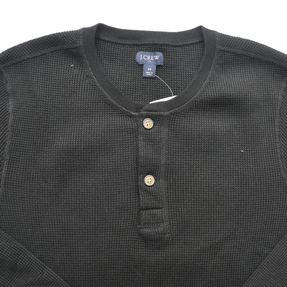 J.CREW/ジェイクルー ヘンリーネックサーマルロングスリーブTシャツ ブラック-3