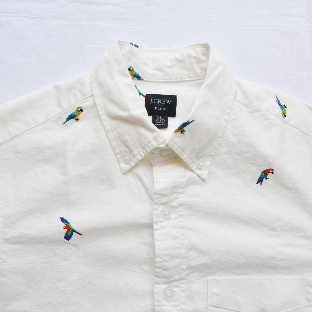 J.CREW/ジェイクルー オウム総柄 ロングスリーブシャツ ホワイト XS-3