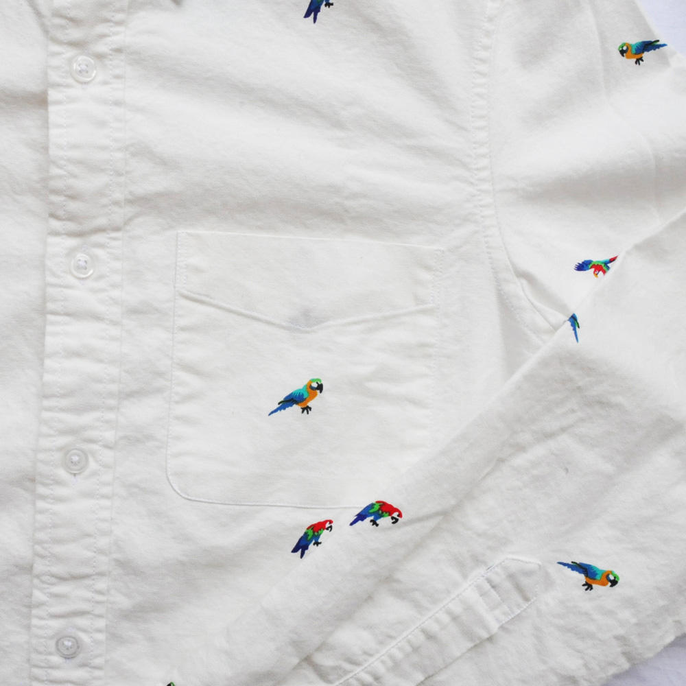 J.CREW/ジェイクルー オウム総柄 ロングスリーブシャツ ホワイト XS-4