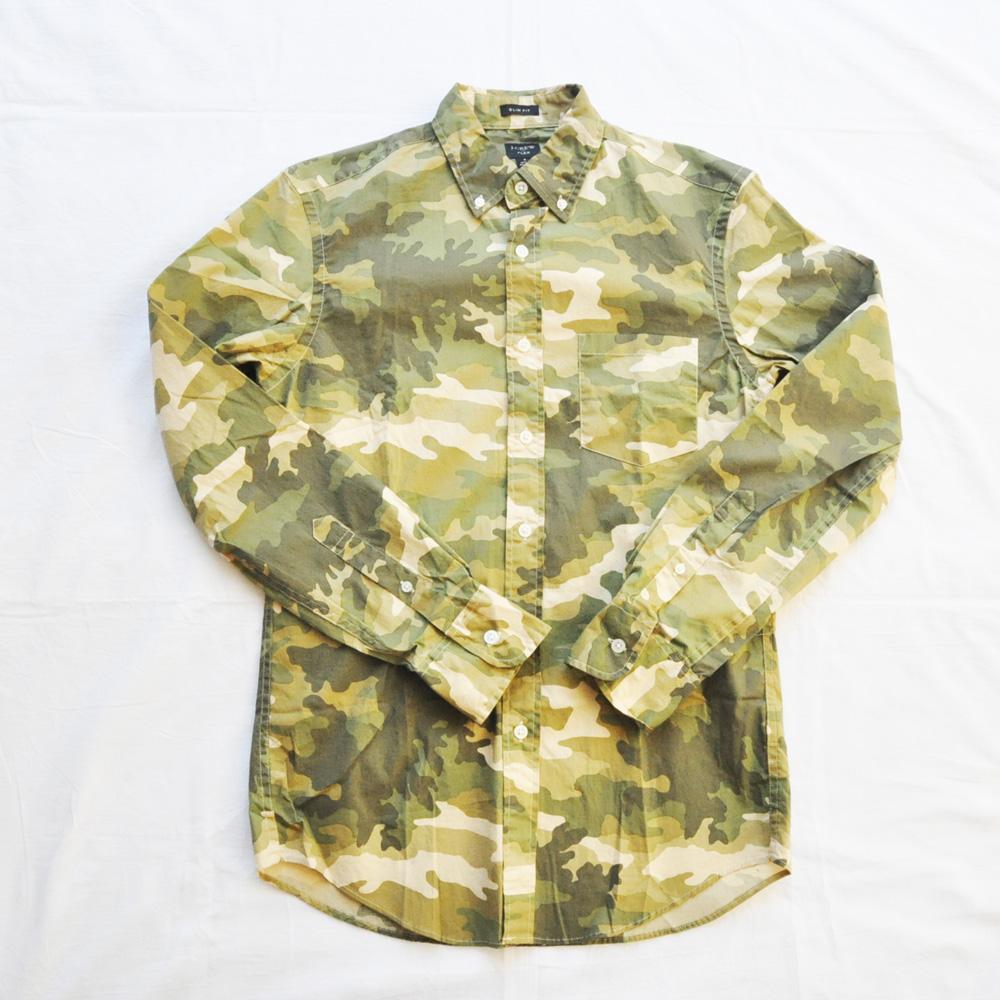 J.CREW/ジェイクルー カモフラ柄 SLIM FIT ロングスリーブシャツ