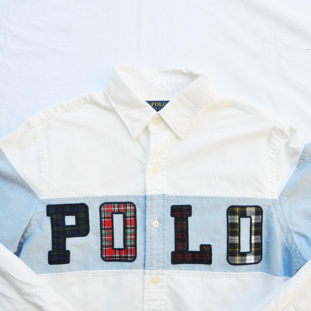 POLO RALPH LAUREN/ポロラルローレン POLOロゴ パッチワーク ロングスリーブシャツ-3