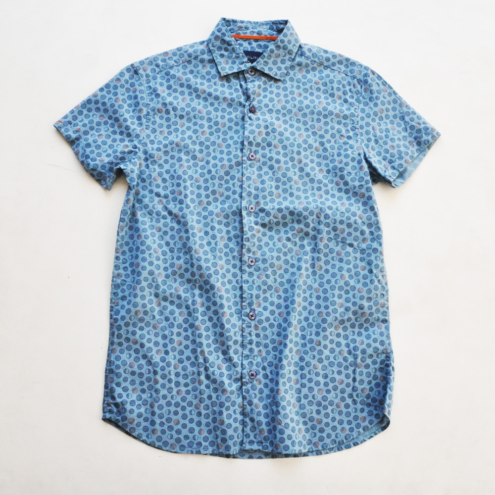 STEEL&JELLY/スティールアンドジェリー ドット柄半袖シャツ ブルー