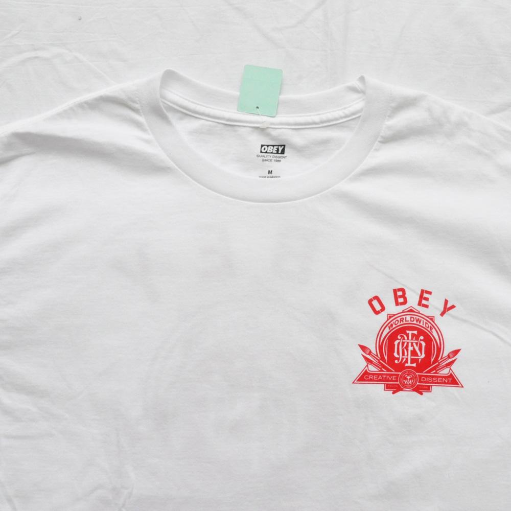 OBEY/オベイ CREATIVE DISSENT 半袖Tシャツ ホワイト M-4