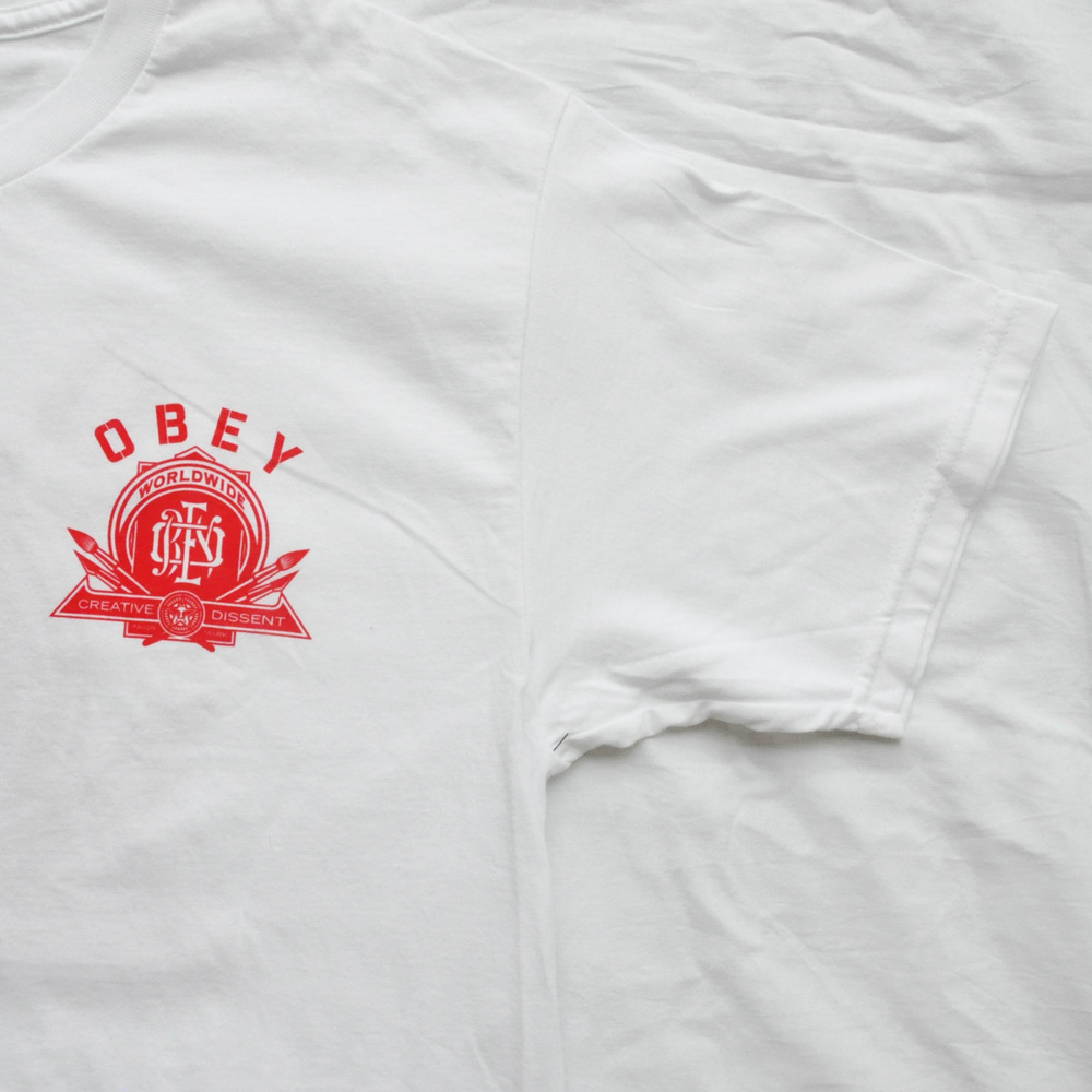 OBEY/オベイ CREATIVE DISSENT 半袖Tシャツ ホワイト M-5