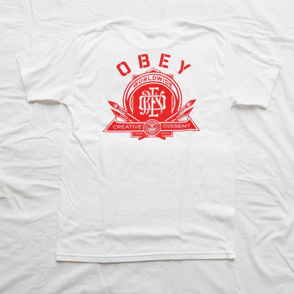 OBEY/オベイ CREATIVE DISSENT 半袖Tシャツ ホワイト M