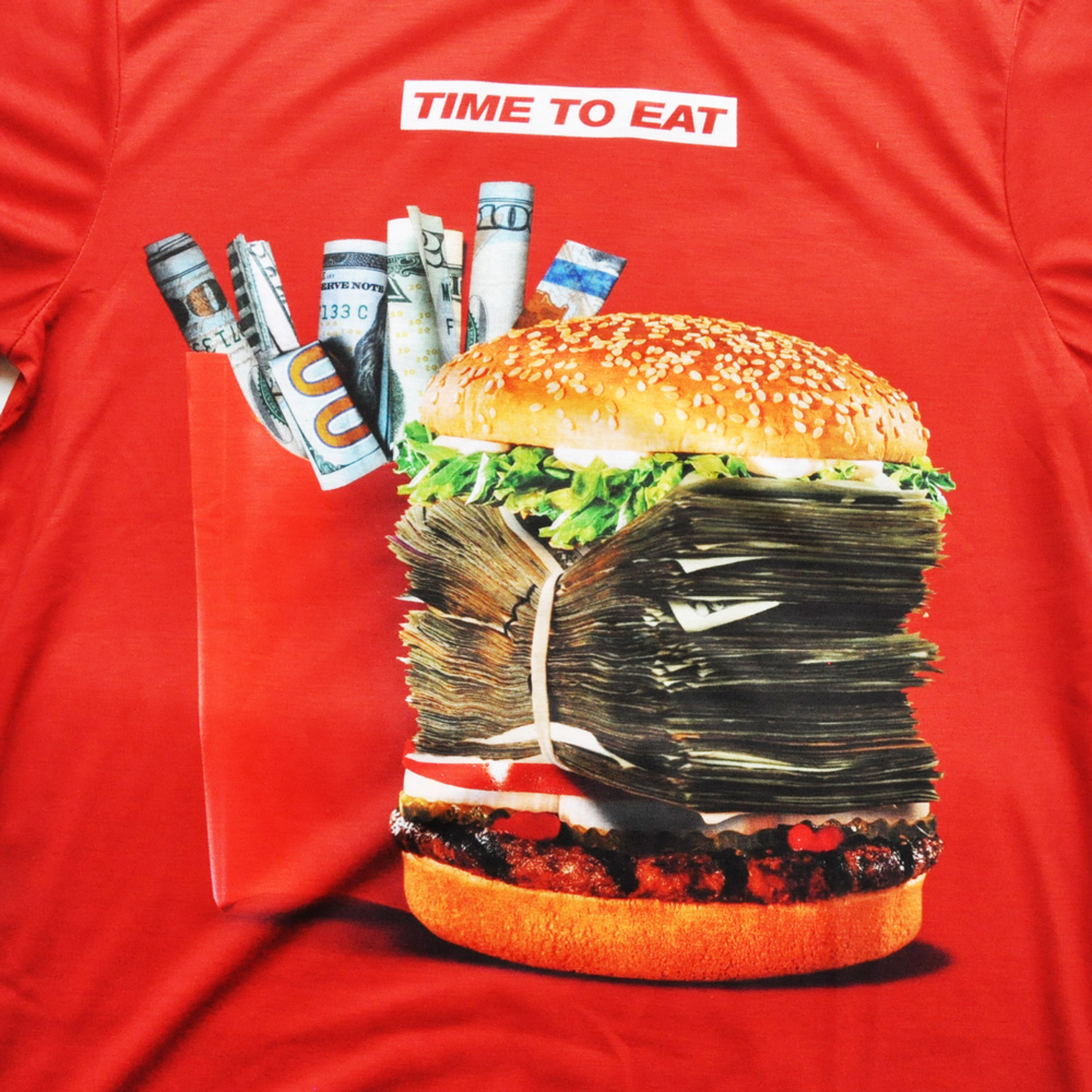 I AM DOPE CLOTHING/アイアム ドープ TIME TO EAT 半袖Tシャツ レッド-3