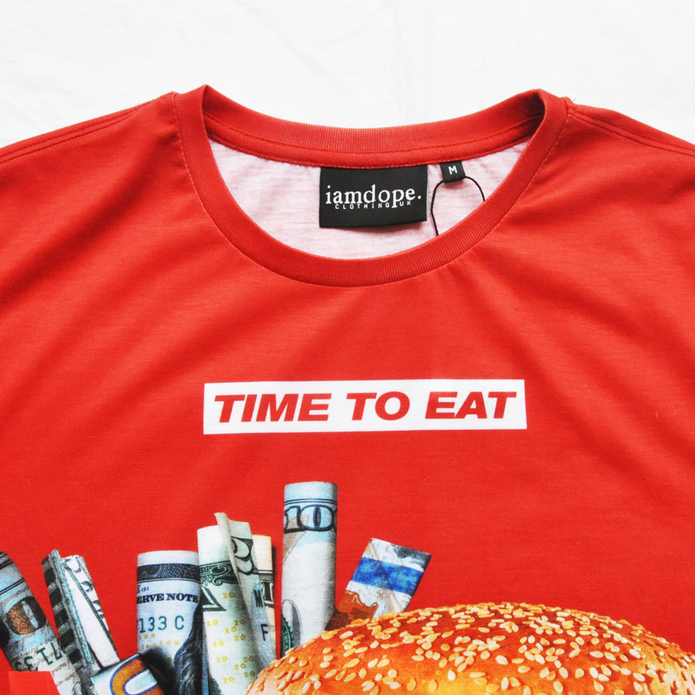 I AM DOPE CLOTHING/アイアム ドープ TIME TO EAT 半袖Tシャツ レッド-4